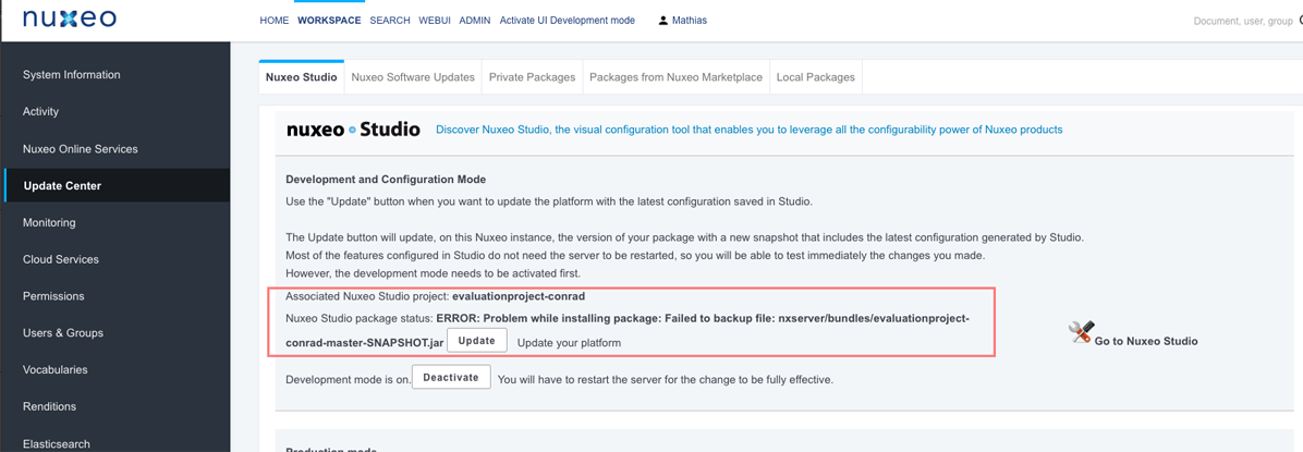 Update package via Studio fails: UpdateManager java looks for wrong