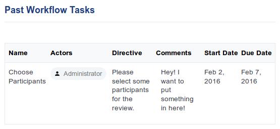 Past Workflow Tasks