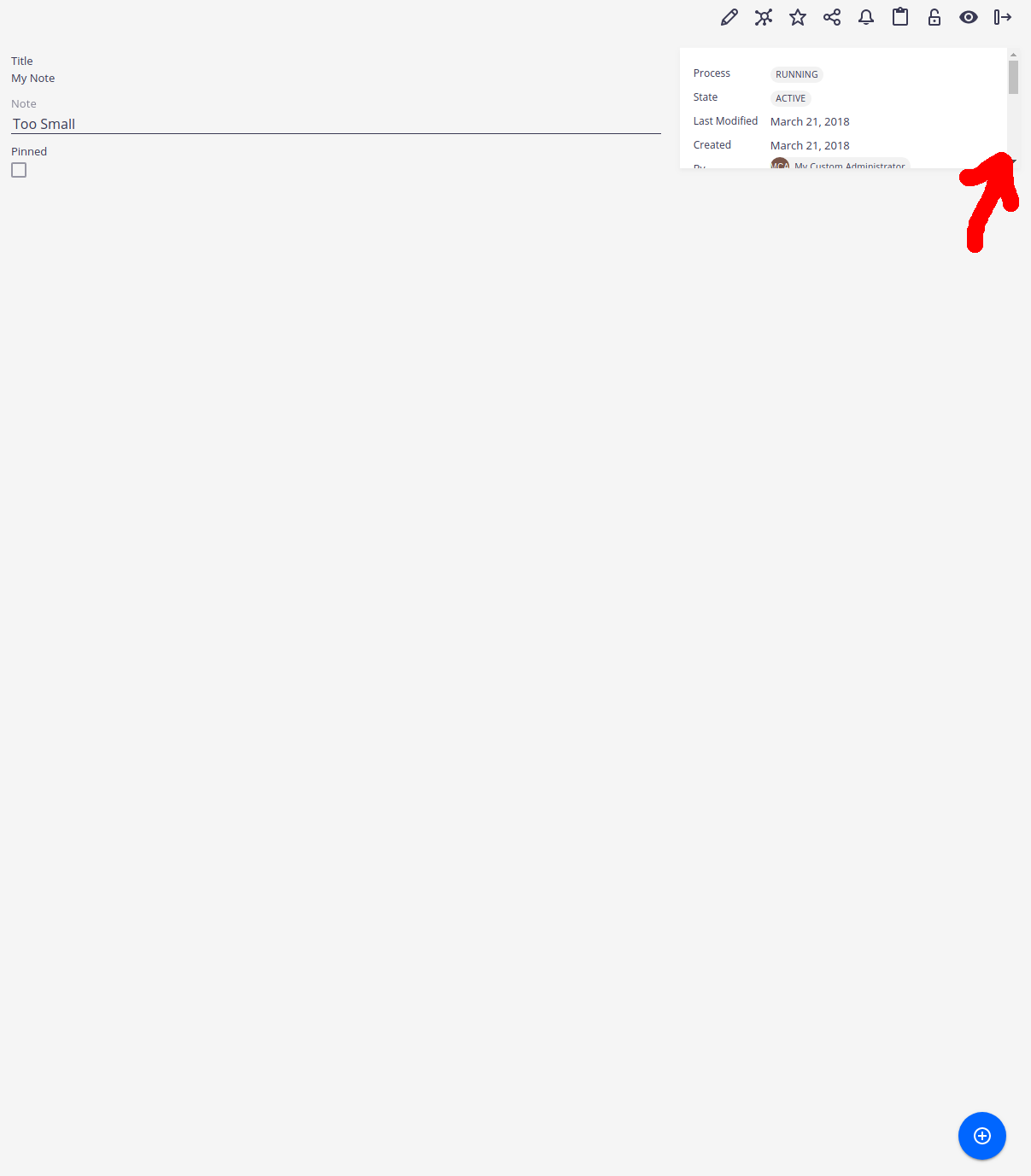 side pane shows scrollbar